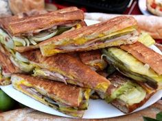 Get the recipe for Alton Brown's Cuban sandwich. It's my favorite sandwich of all time. The Cuban . Kubanisches Sandwich, Cubano Sandwich, Soup And Sandwich, Sandwich Station, Pressed Sandwich, Cuban Recipes, Beef Recipes, Cooking Recipes, Panini Recipes