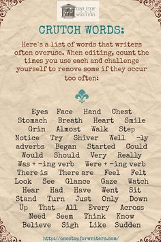 Overused Words in Writing: Cut these from your manuscript! Interesting List- I don't use all of these, but I think we all have those words we overuse.