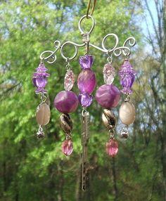 Small Purple and Silver Garden Windchime or Mobile by brambleoak, $9.00