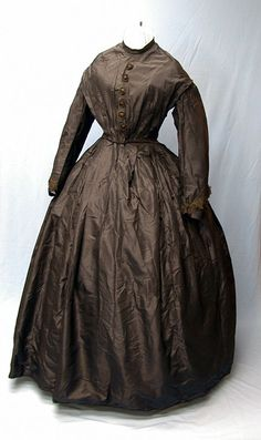 Black silk mourning dress (now faded to brown), 1860s.