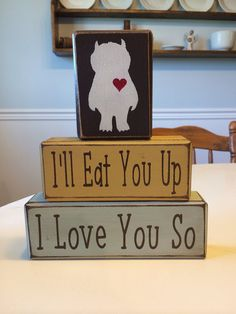 Where the wild things are I'll eat you up I love you so nursery decor stacking wood blocks playroom baby shower centerpiece birthday