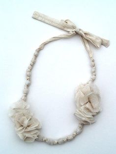 cute anthro knock off necklace -- don't need jewelry making tools to make, just fabric and some cheap beads!