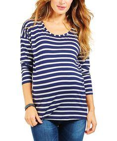 Look what I found on #zulily! Navy Blue Stripe Maternity Top by Envie de Fraises #zulilyfinds