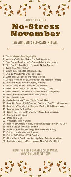 Meditation For Stress, Guided Meditation, Care Calendar, Pdf Calendar, November Challenge, Monthly Challenge, Self Care Bullet Journal, Mental And Emotional Health, Self Care Activities