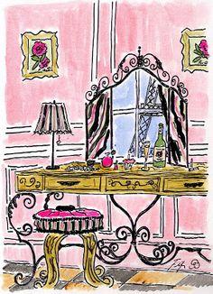 Fifi Flowers Painting du Jour Gallery: Oooh la la Paris Vanity