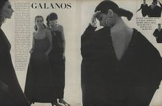 """""""Galanos triumphant. Day and evening, some of the most beautiful clothes in America."""""""