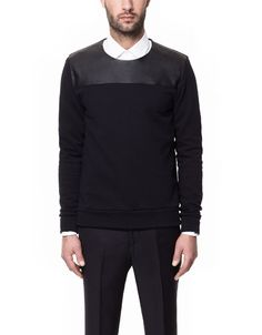 SWEATER WITH FAUX LEATHER YOKE