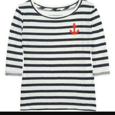 J. Crew Nautical Chic Tee White/navy semi sheer cotton half sleeves with red felt anchor! Fits true to size! Bought from J.Crew and never wore! Has no tags but is in perfect condition! J. Crew Tops