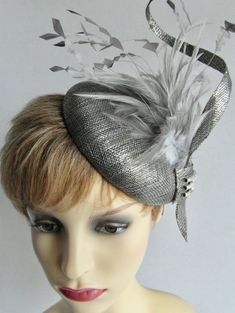 Hannah silver fascinator:wedding, Mother of the Bride, Ladies Day, races, special occasion Silver Fascinator, Headpiece, Wedding Hats, Crystal Brooch, Ladies Day, Mother Of The Bride, Special Occasion, Halloween Face Makeup, Feather