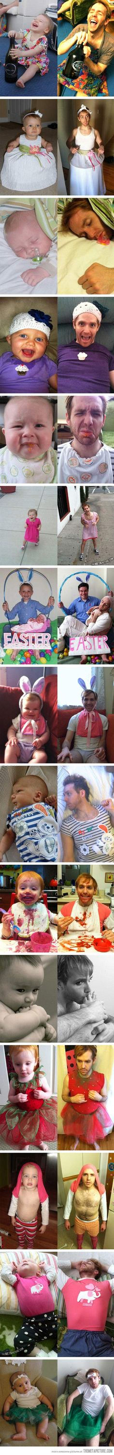 Baby pictures reenacted. Um, the foot one is ew. But these are hysterical!