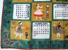 Vintage Souvenir Handkerchief 1954 Calendar Hankie by NeatoKeen, $24.00