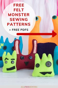 Kid-Friendly Felt Monster Patterns - Not only will you find monster pattern printables but a how-to for sewing them up! SO FUN! Sewing Projects For Kids, Sewing For Kids, Sewing Toys, Sewing Crafts, Sewing Patterns Free, Free Pattern, Felt Monster, Diy Gifts, Little Ones