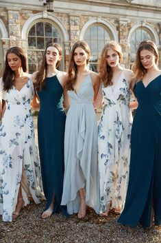 Mix and match your bridesmaids dresses for a unique bridal party! Bridesmaids dresses are from Jenny Yoo Collection