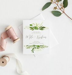 Save the Date  Printed Save the Date  Greenery Invitation