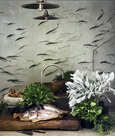 Bathroom Wallpaper Fish Master Bath 40 Ideas For 2019 Home Design, Modern House Design, Modern Interior Design, Interior And Exterior, Design Room, Bathroom Wallpaper Fish, Fish Wallpaper, Wallpaper Decor, Wallpaper Ideas