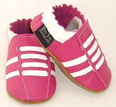NEW soft sole leather baby crib shoes hot pink running by minitoes Baby Crib Shoes, Babies Stuff, Hot Pink, Adidas Sneakers, Running, Trending Outfits, Unique Jewelry, Handmade Gifts, Leather
