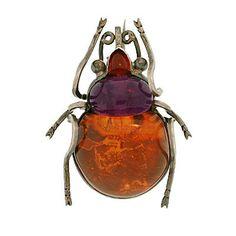 Victorian Huge Sterling Amber, Amethyst & Garnet Bug Pin