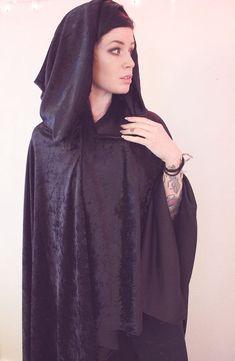 Long Black Hooded Cloak
