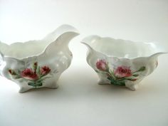 Antique Hammersley Grangmother's Roses Creamer and Open Sugar