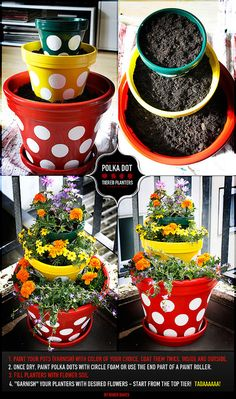DIY - Polka Dot Tiered Planters by Niner Bakes