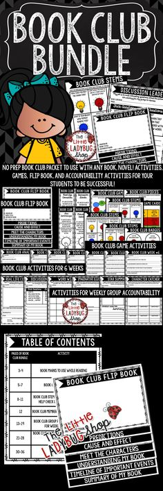 YOU will LOVE this Book Club Activities BUNDLE! It has everything you need to get your students started on literature circles! From Flip Books, to Games this BUNDLE is jammed packed! This an exciting and educational way for your students to grow as readers in your class! This Activities Packet works perfectly for students in 2nd grade, 3rd grade, 4th grade.