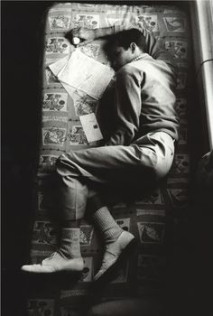 Anthony Perkins sleeping between takes on the set of Psycho, 1960.