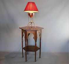 Classic arts and crafts lamp table retailed by Liberty & Co in the Moorish style. Liberty Furniture, Arts And Crafts Movement, Moorish, Art Furniture, Home Furnishings, Art Nouveau, Table Lamp, Contemporary, Chair