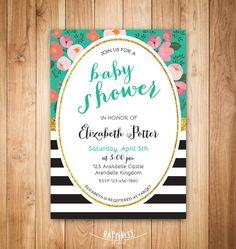 Chic baby shower invitation - flowers - glitter - black and white stripes invitation-printable invite on Etsy, $10.00