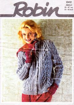 Genuine Vintage 1980s Pretty ARAN Ultra-Cabled Winter Snuggly Ladies Cardigan Knitting Pattern