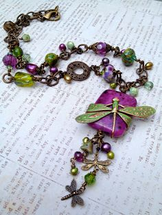 Dragonfly Path Artisan OOAK Handmade Necklace. $80.00, via Etsy.