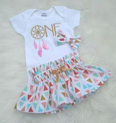One year old birthday oufit/cake smash outfit/dream catcher birthday oufit by bibitibobitiboutique on Etsy