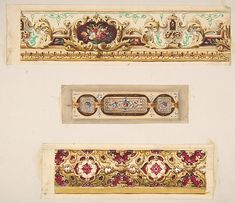 Three designs for painted borders to decorate a room | Jules-Edmond-Charles Lachaise