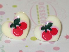 White Cherry Heart Stud Earrings Kawaii Tiny Post by DIYArtMart