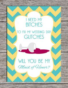 "Printable ""Will You be My Maid of Honor?"" card by Paper Hat Designs, $5.00"