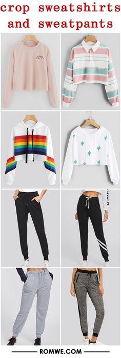 crop sweatshirts and sweatpants 2017 - romwe.com