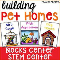 Blocks Center: Pet Home STEM challenge posters (FREEBIE) for preschool, pre-k, kindergarten, and first. Fun for a pet theme. Preschool Centers, Preschool At Home, Preschool Themes, Preschool Science, Preschool Activities, Preschool Teachers, Kindergarten Classroom, Preschool Education, Science Ideas