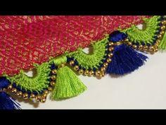 ಬ್ರೈಡಲ್ ಸೀರೆ ಕುಚ್ಚು ಡಿಸೈನ್/bridal saree kuchu design Kannada - YouTube Saree Tassels Designs, Saree Kuchu Designs, Kolam Designs, Beaded Embroidery, Embroidery Stitches, Half Saree Lehenga, Sari, Hand Embroidery Patterns Free, Marriage Dress