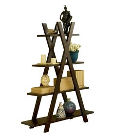 Furniture of America Cappuccino Open Four-Tier Ladder Display Shelf | zulily
