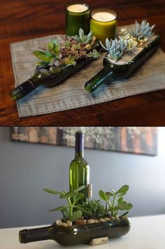 DIY decoration from glass bottles: 20 inspiring examples and DI .- DIY Deko aus Glasflaschen: 20 inspirierende Beispiele und DIY Projekte DIY decoration from glass bottles: 20 inspiring examples and DIY projects - Wine Bottle Art, Wine Bottle Crafts, Diy Bottle, Wine Bottle Planter, Bottle Terrarium, Empty Wine Bottles, Bottle Caps, Wine Bottle Centre Pieces, Center Pieces