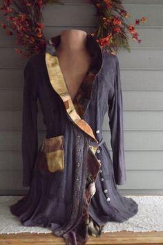 Lagenlook French Gypsy Tunic Jacket Upcycled von bluemermaiddesigns