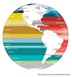 Now I know what I'm aiming for when I try to skip a rock across the ocean. (What's across the ocean from you when you're at the beach, in 7 fascinating maps - The Washington Post) North America Map, Western Sahara, Wanderlust, Spain And Portugal, Guinea Bissau, Liberia, Papua New Guinea, Sierra Leone, Haiti