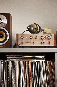 vinyl records, mid century stereo, amplifier, speakers