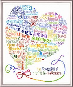 """Lets Enjoy the Seasons - another """"Words"""" cross stitch pattern designed by Ursula Michael."""