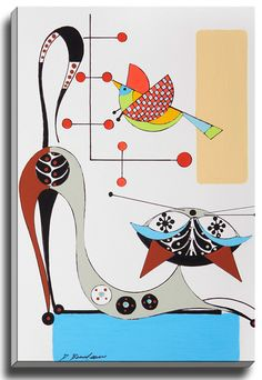 Cat L by Dominic Bourbeau Graphic Art on Wrapped Canvas
