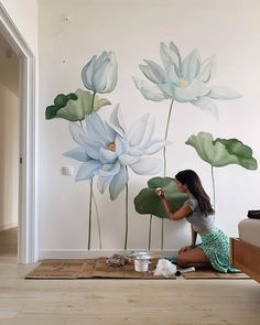 Wall Painting Decor, Mural Wall Art, Wall Decor, Wall Paintings, Flower Mural, Wall Writing, Artsy Photos, Home Decor Furniture, Wall Design