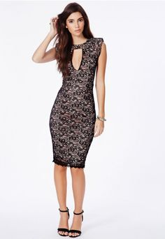 Brinda Lace Bodycon Dress With Keyhole Cut Out - Dresses - Lace Dresses - Missguided