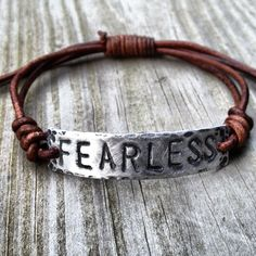 FEARLESS ID Bracelet, silver, leather, Hand Stamped, Inspirational jewelry, bracelet with words, on Etsy, $19.00