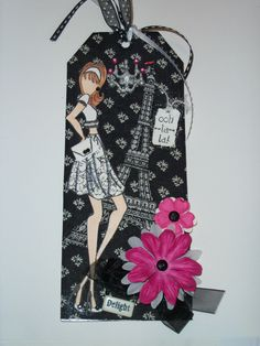 """Ooh La La"" Tag by Tami. Mixed Media Julie Nutting Doll Stamp."