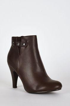 Dark Brown Side Studs Detail Ankle High Heel Boots