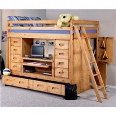 Bunkhouse Full Rodeo Loft Bed with Desk, Drawers and Trundle Bed by Trendwood - Conlin's Furniture - Loft Bed Furniture Stores in Montana, North Dakota, South Dakota, Minnesota, and Wyoming.